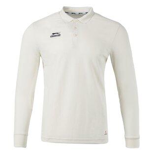 slazenger Long Sleeve Cricket Polo Shirt Mens