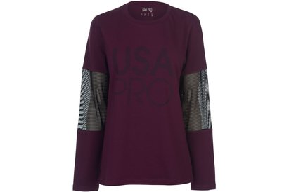 USA Pro Long Line Long Sleeve T Shirt Ladies