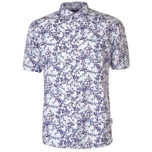 Pierre Cardin All Over Print Linen Shirt Mens