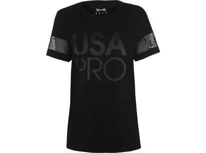 USA Pro Long Line Short Sleeve T Shirt Ladies