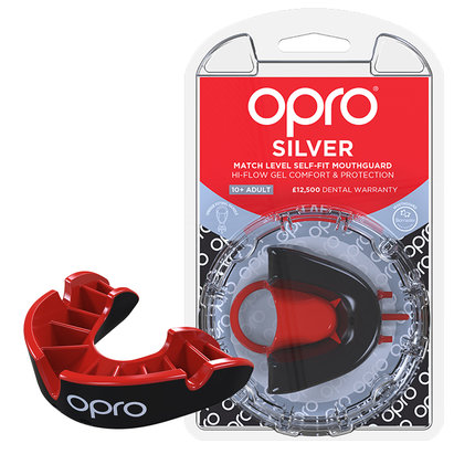 Opro Silver Mouth Guard Black/Red