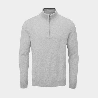 Oscar Jacobson Pin Cotton Zip Neck Sweater