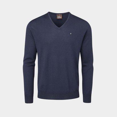 Oscar Jacobson Pin Merino V Neck Sweater