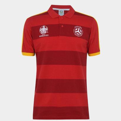 UEFA Euro 2020 Spain Stripe Polo Shirt Mens