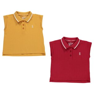 2 Pack Cropped Polo Shirt Junior Girls