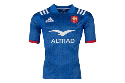adidas France Replica Home Short Sleeve Rugby Shirt