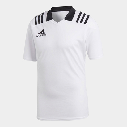 adidas Team Wear 3 Stripe S/S Fitted Rugby Shirt
