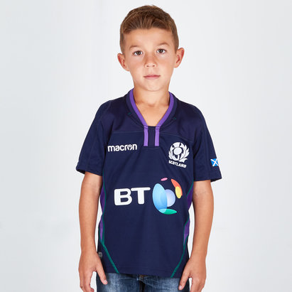 Macron Scotland 2018/19 Home Kids S/S Replica Rugby Shirt