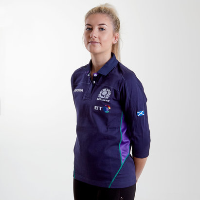 Macron Scotland 2018/19 Home Ladies Cotton 3/4 Sleeve Replica Rugby Shirt