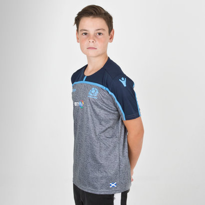 Macron Scotland 2018/19 Kids Gym Rugby Training T-Shirt