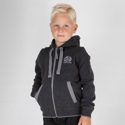 Macron Scotland 2018/19 Kids Travel Full Zip Hooded Rugby Sweat