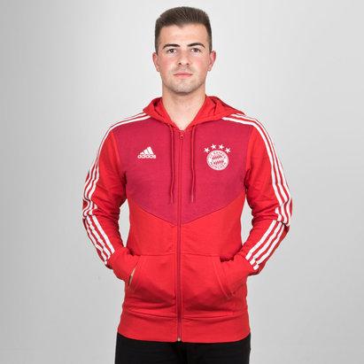 adidas Bayern Munich 18/19 3 Stripe Full Zip Hooded Football Sweat