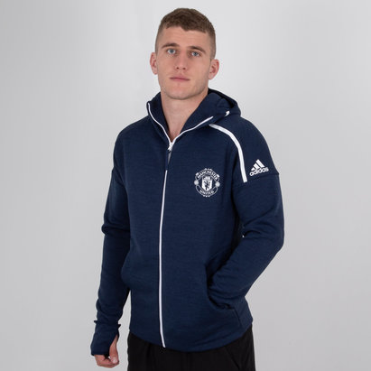 adidas Manchester United 18/19 ZNE Full Zip Football Hooded Sweat