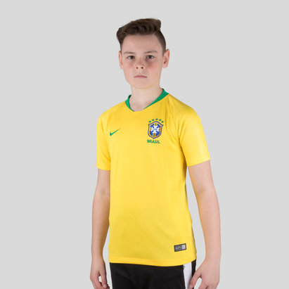 Nike Brazil 2018 Home Kids S/S Stadium Replica Football Shirt