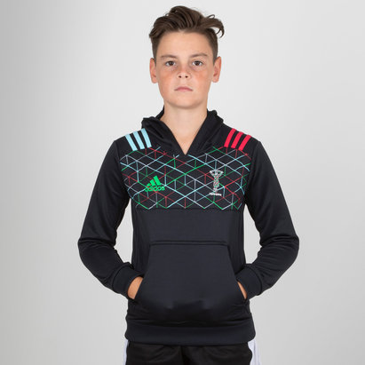 adidas Harlequins 2018/19 Kids Performance Hooded Rugby Sweat