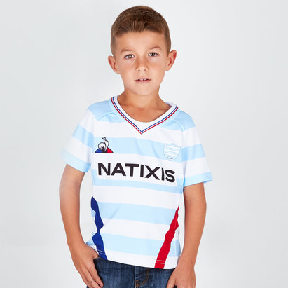 Le Coq Sportif Racing 92 2018/19 Kids Home S/S Replica Rugby Shirt