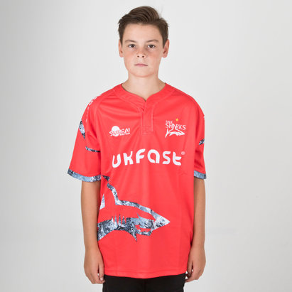 Samurai Sale Sharks 2018/19 Kids Alternate S/S Replica Rugby Shirt