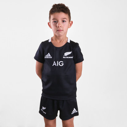 adidas New Zealand All Blacks 2018/19 Home Mini Kids Replica Rugby Kit
