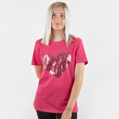 HeartNetball Ladies Ruby Sequin T-Shirt
