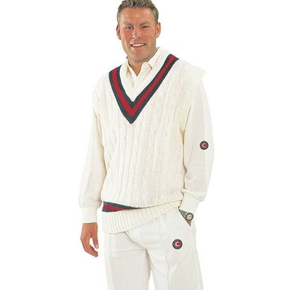 Hunts County Knitted Long Sleeve Trimmed Junior Cricket Jumper