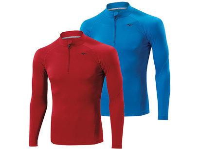 Mizuno AW14 Mens Breath Thermo Lightweight Long Sleeve 1/2 Zip Running Top