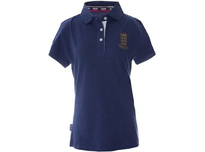 England Cricket Classic Pique Blue Womens Polo Shirt
