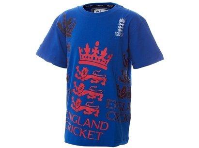 England Cricket Classic Large Stitch Logo Blue Junior T-Shirt