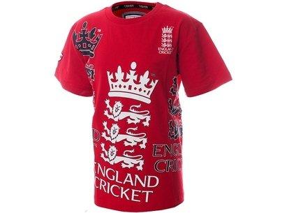 England Cricket Classic Large Stitch Logo Red Junior T-Shirt