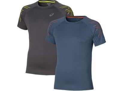 Asics AW16 Mens Stripe Short Sleeve Runnning T-Shirt