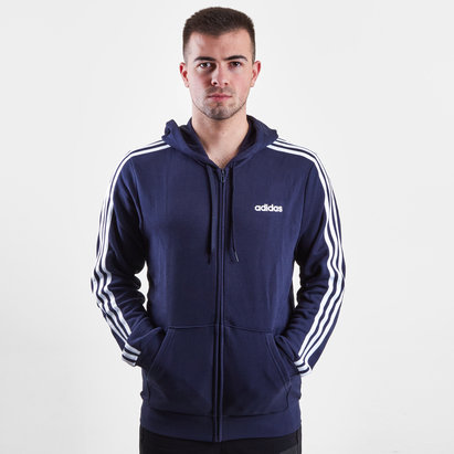 adidas Essential 3 Stripe Full Zip Hooded Sweat