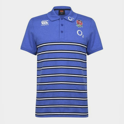 Canterbury England 2019/20 Cotton Stripe Rugby Polo Shirt