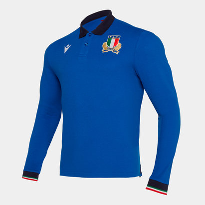 Macron Italy 2019/20 Pique L/S Cotton Rugby Polo Shirt