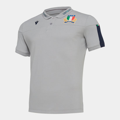 Macron Italy 2019/20 Players Travel Rugby Polo Shirt