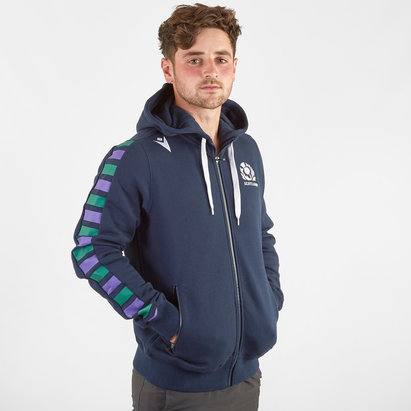 Macron Scotland 2019/20 Players Full Zip Hooded Rugby Sweat