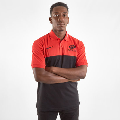 Nike Saracens 2019/20 Players Pique Rugby Polo Shirt