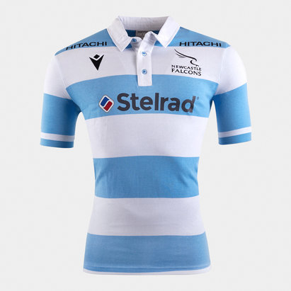 Macron Newcastle Falcons 2019/20 Kids Alternate S/S Cotton Rugby Shirt
