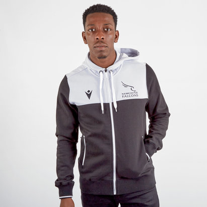 Macron Newcastle Falcons 2019/20 Full Zip Travel Hooded Rugby Sweat
