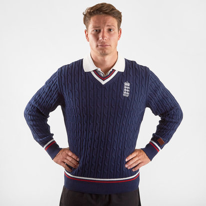 England Cricket Cable Knit Jumper Mens