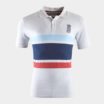 England Cricket Stripe Polo Shirt