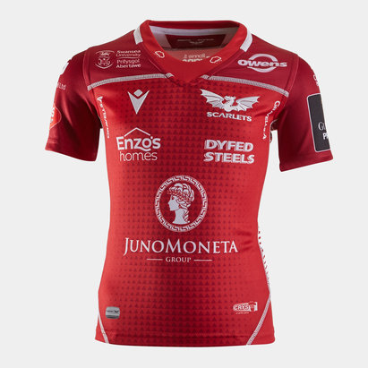 Macron Scarlets 2019/20 Kids Home S/S Replica Rugby Shirt