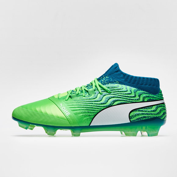 bf9a25f397940c Puma One 18.1 AG Football Boots. Green Gecko Puma White Deep Lagoon