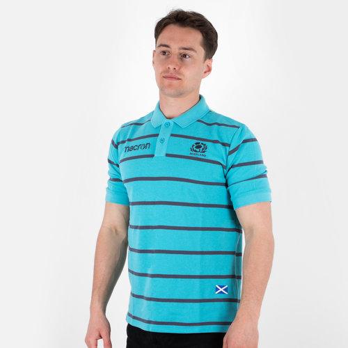 94d836ea0 Scotland 2017 18 Travel Stripe Polycotton Rugby Polo Shirt. Jade Anthracite