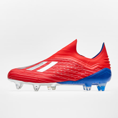 313b3412d X 18+ SG Football Boots. Active Red/Silver Metallic/Bold Blue