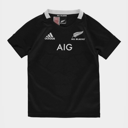 New Zealand All Blacks 2018/19 Home Kids S/S Rugby Shirt