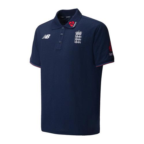 England Cricket Training Media Polo Shirt