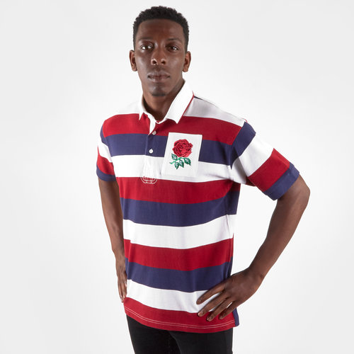 England 2019/20 Vintage S/S Stripe Rugby Polo Shirt