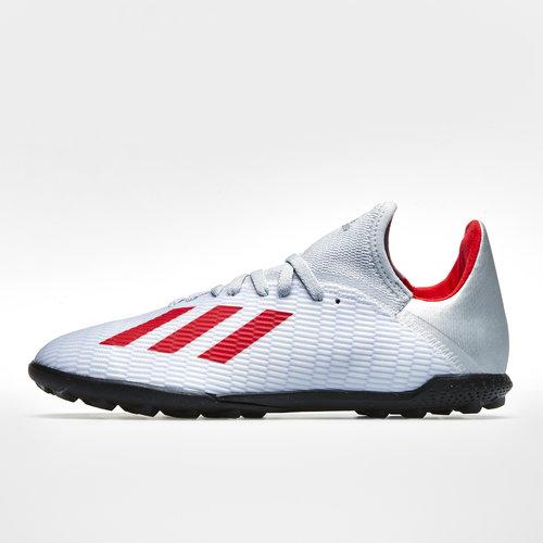 10519f8e6b3 X 19.3 TF Kids Football Trainers. Silver Metallic Hi Res Red White