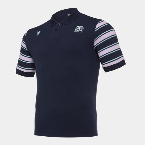 Scotland 2019/20 Players Stripe Rugby Polo Shirt